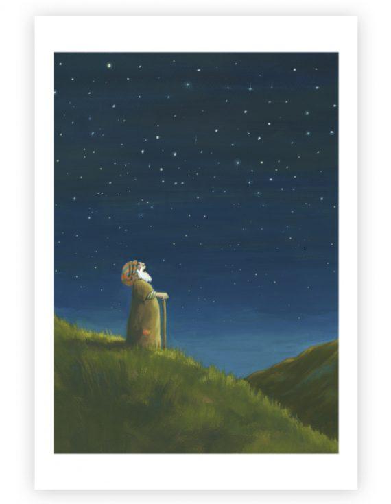 Giclée Prentenbijbel: Abraham kijkt naar de sterren
